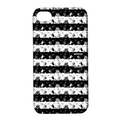 Black And White Halloween Nightmare Stripes Apple Iphone 4/4s Hardshell Case With Stand