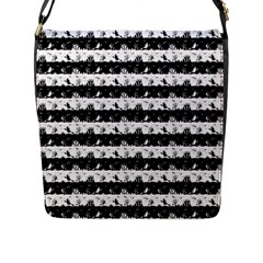 Black And White Halloween Nightmare Stripes Flap Closure Messenger Bag (l) by PodArtist