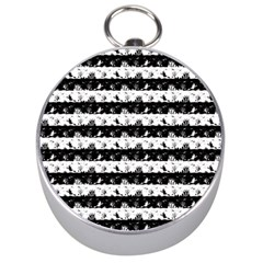 Black And White Halloween Nightmare Stripes Silver Compasses by PodArtist