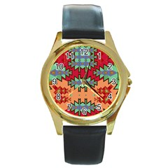 Misc Tribal Shapes                                               Round Gold Metal Watch by LalyLauraFLM