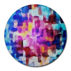 Blue Pink Watercolors                                                    Round Mousepad by LalyLauraFLM
