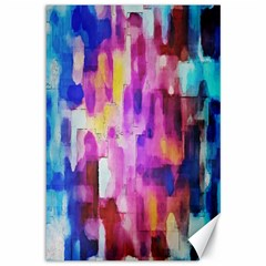 Blue Pink Watercolors                                                    Canvas 12  X 18  by LalyLauraFLM