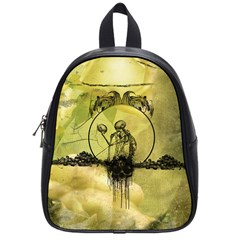 Awesome Creepy Skeleton With Skull School Bag (small) by FantasyWorld7