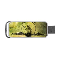 Awesome Creepy Skeleton With Skull Portable Usb Flash (one Side) by FantasyWorld7