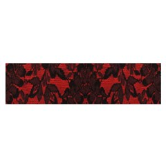 Red And Black Leather Red Lace By Flipstylez Designs Satin Scarf (oblong) by flipstylezdes