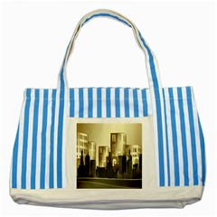 Architecture City House Striped Blue Tote Bag