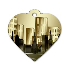Architecture City House Dog Tag Heart (two Sides)