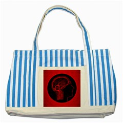 Artificial Intelligence Brain Think Striped Blue Tote Bag