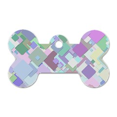 Colorful Background Multicolored Dog Tag Bone (one Side)