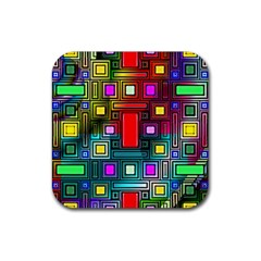 Art Rectangles Abstract Modern Art Rubber Square Coaster (4 Pack)