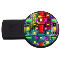 Art Rectangles Abstract Modern Art Usb Flash Drive Round (2 Gb)