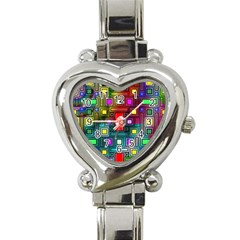 Art Rectangles Abstract Modern Art Heart Italian Charm Watch