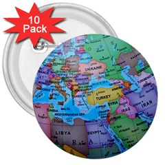 Globe World Map Maps Europe 3  Buttons (10 Pack)  by Samandel