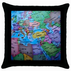 Globe World Map Maps Europe Throw Pillow Case (black)