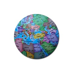 Globe World Map Maps Europe Rubber Round Coaster (4 Pack)