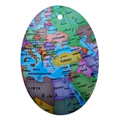 Globe World Map Maps Europe Oval Ornament (two Sides) by Samandel