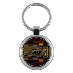 Processor Cpu Board Circuits Key Chains (round)  by Samandel