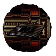 Processor Cpu Board Circuits Large 18  Premium Round Cushions by Samandel