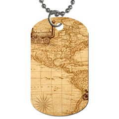 Map Discovery America Ship Train Dog Tag (one Side)