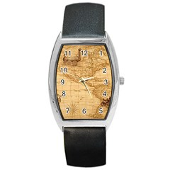 Map Discovery America Ship Train Barrel Style Metal Watch by Samandel