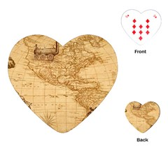 Map Discovery America Ship Train Playing Cards (heart)