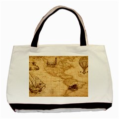 Map Discovery America Ship Train Basic Tote Bag by Samandel