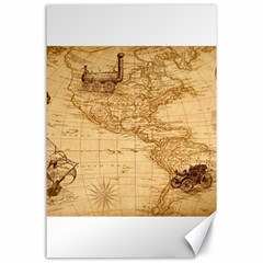 Map Discovery America Ship Train Canvas 24  X 36  by Samandel