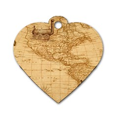 Map Discovery America Ship Train Dog Tag Heart (two Sides) by Samandel