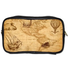 Map Discovery America Ship Train Toiletries Bag (two Sides) by Samandel