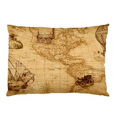 Map Discovery America Ship Train Pillow Case (two Sides)