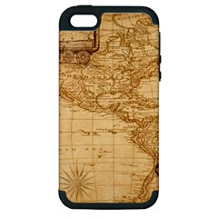 Map Discovery America Ship Train Apple Iphone 5 Hardshell Case (pc+silicone)