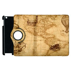 Map Discovery America Ship Train Apple Ipad 3/4 Flip 360 Case by Samandel