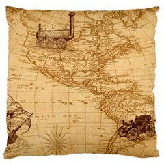 Map Discovery America Ship Train Standard Flano Cushion Case (two Sides)