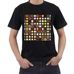 Squares Colorful Texture Modern Art Men s T Shirt (black) (two Sided)