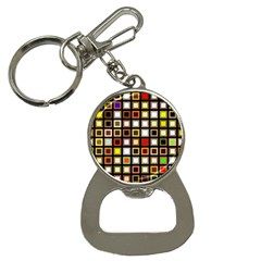 Squares Colorful Texture Modern Art Bottle Opener Key Chains by Samandel