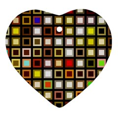 Squares Colorful Texture Modern Art Heart Ornament (two Sides) by Samandel