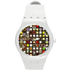 Squares Colorful Texture Modern Art Round Plastic Sport Watch (m)