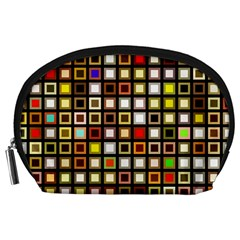 Squares Colorful Texture Modern Art Accessory Pouch (large) by Samandel