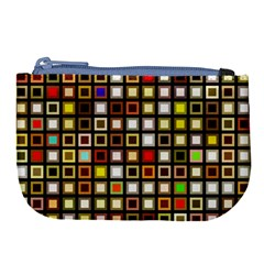 Squares Colorful Texture Modern Art Large Coin Purse