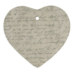 Handwritten Letter 2 Heart Ornament (two Sides) by vintage2030