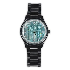 Green Tree Stainless Steel Round Watch by vintage2030