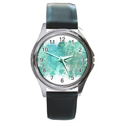Splash Teal Round Metal Watch by vintage2030