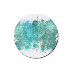 Splash Teal Rubber Coaster (round)  by vintage2030