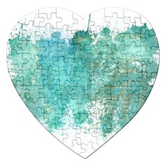 Splash Teal Jigsaw Puzzle (heart) by vintage2030