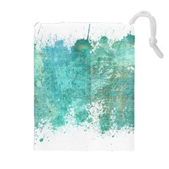 Splash Teal Drawstring Pouch (xl) by vintage2030