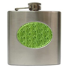 Knitted Wool Chain Green Hip Flask (6 Oz) by vintage2030