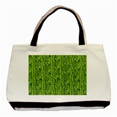 Knitted Wool Chain Green Basic Tote Bag by vintage2030