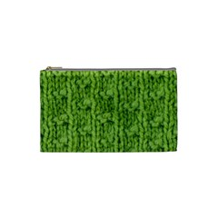 Knitted Wool Chain Green Cosmetic Bag (small) by vintage2030