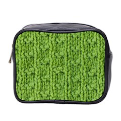 Knitted Wool Chain Green Mini Toiletries Bag (two Sides) by vintage2030