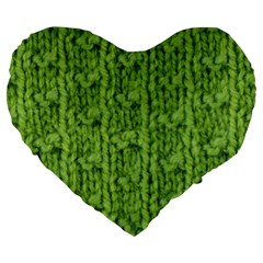 Knitted Wool Chain Green Large 19  Premium Heart Shape Cushions by vintage2030